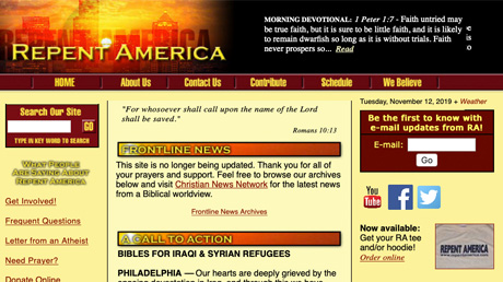 Repent America website